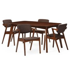 Elianna Elegant Dark Walnut Upholstered 5 Piece Dining Set