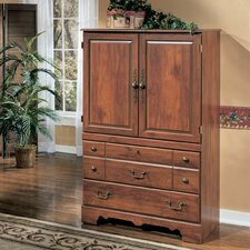 Elle Armoire in Replicated Cherry Grain by August Grove® Cheap
