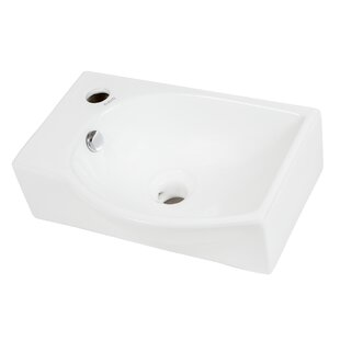 Great deal Right-Facing Ceramic 16'' Wall-Mount Bathroom Sink By Elanti