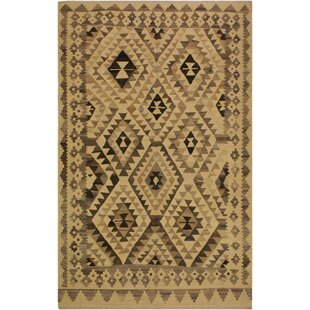 Compare One-of-a-Kind Jorge Handmade Kilim Wool Black/Beige Area Rug By Isabelline