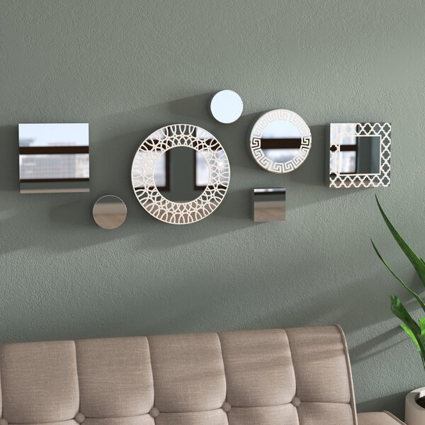 Jolin 7 Piece Circle Square Etched Mirror Set by Zipcode Design