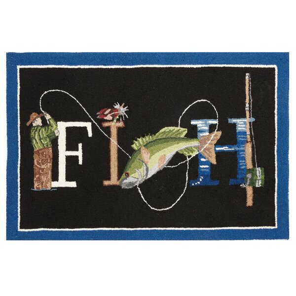 Fish Hook Hand-Woven Black/Blue Area Rug by Mary Lake Thompson