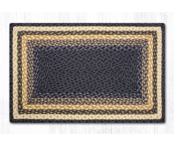 Light Blue/Dark Blue/Mustard Braided Area Rug by Earth Rugs