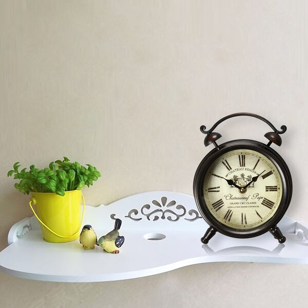 Vintage-Inspired Roman Numerals Chateauneuf Pape Alarm Table Clock by Adeco Trading