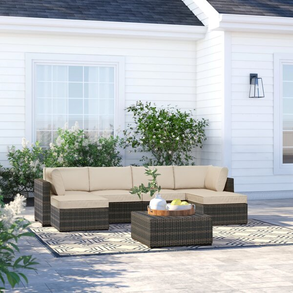 Barwick 7 Piece Rattan Sectional Seating Group with Cushions by Sol 72 Outdoor