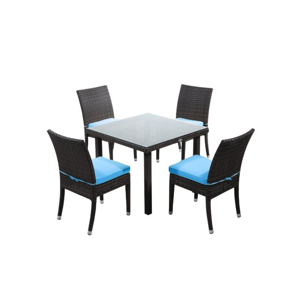 Brighton 5 Piece Dining Set with Cushions by Rattan Outdoor Furniture