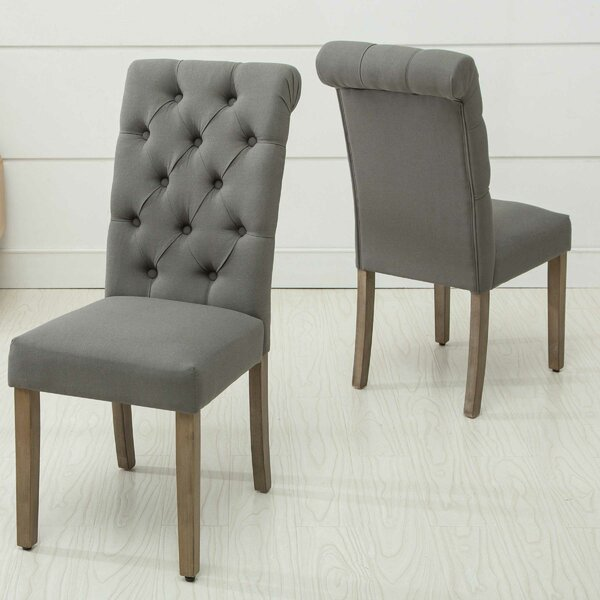 Scholl Roll Top Upholstered Dining Chair (Set of 2) by Gracie Oaks