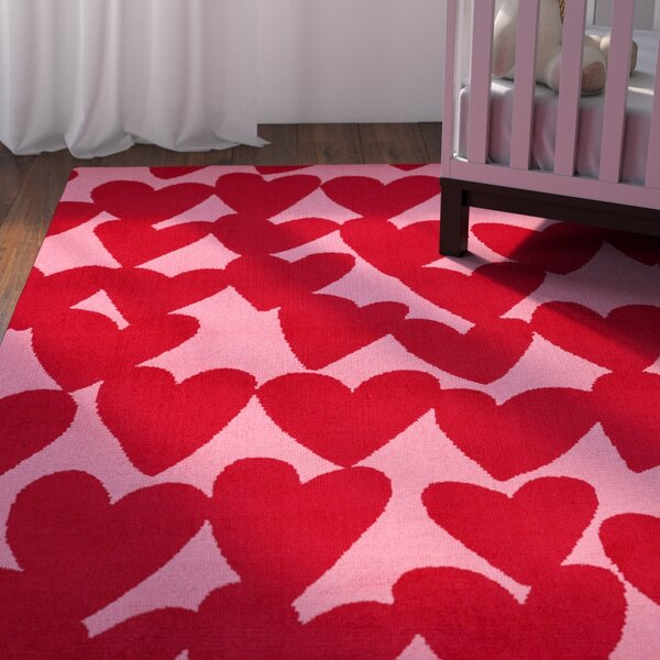 Daisy Confectionary Valentine Machine Tufted Red/Pink Area Rug by Viv + Rae