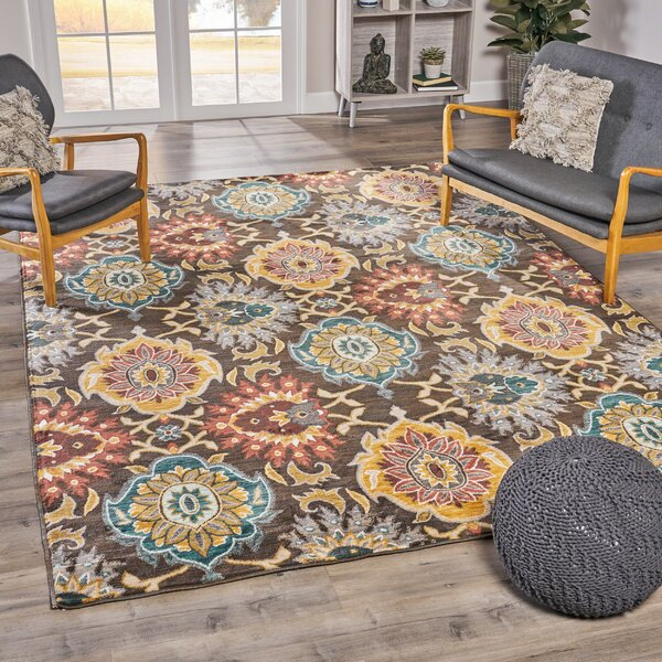 Mckim Bohemian Brown/Yellow Area Rug by Red Barrel Studio