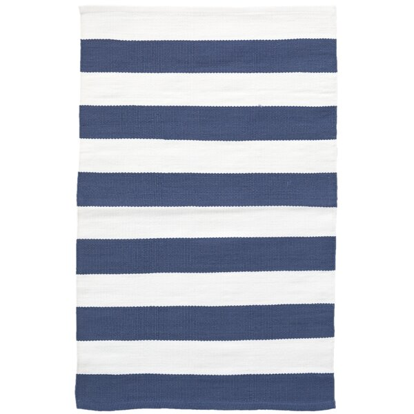 Catamaran Stripe Blue/White Indoor/Outdoor Area Rug by Dash and Albert Rugs