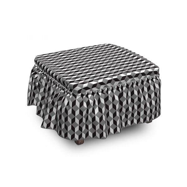 Chevron Zigzags Cubes Ottoman Slipcover (Set Of 2) By East Urban Home