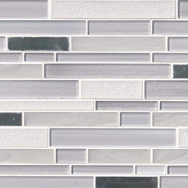 Krystal Interlocking Pattern Random Sized Glass/Metal Mosaic Tile in White/Gray by MSI