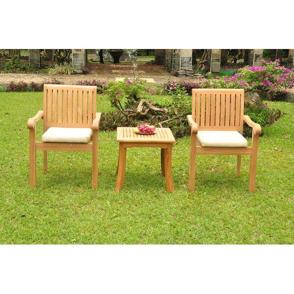 Dolores Luxurious 3 Piece Teak Bistro Set by Rosecliff Heights