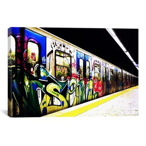 Train Graffiti Photographic Print on Wrapped Canvas by iCanvas