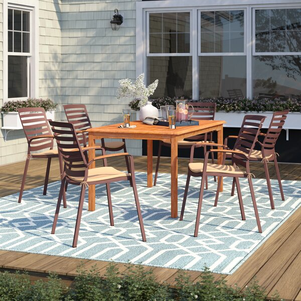 Elsmere 7 Piece Teak Dining Set with Cushions by Beachcrest Home