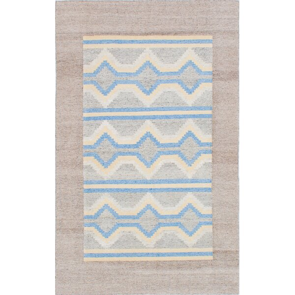 Tribeca Hand-Woven Wool Blue/Beige Area Rug by ECARPETGALLERY
