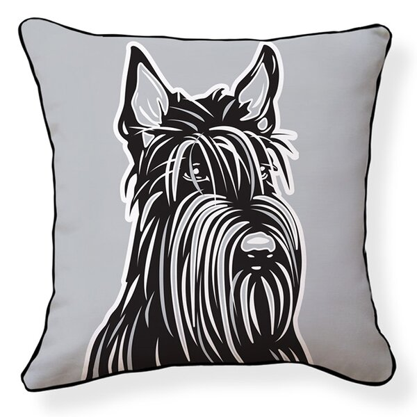 Scottish Terrier Cotton Throw Pillow by Naked Decor