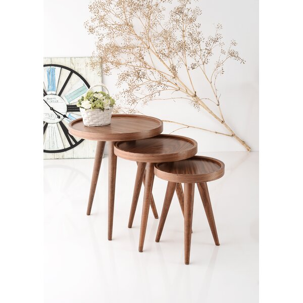 Alec 3 Piece Walnut Nesting Table by Corrigan Studio