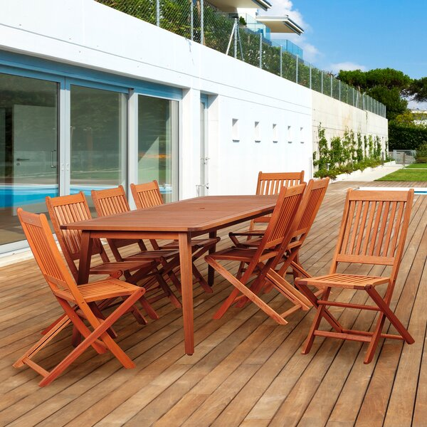 Tynan International Home Outdoor 9 Piece Dining Set by Highland Dunes