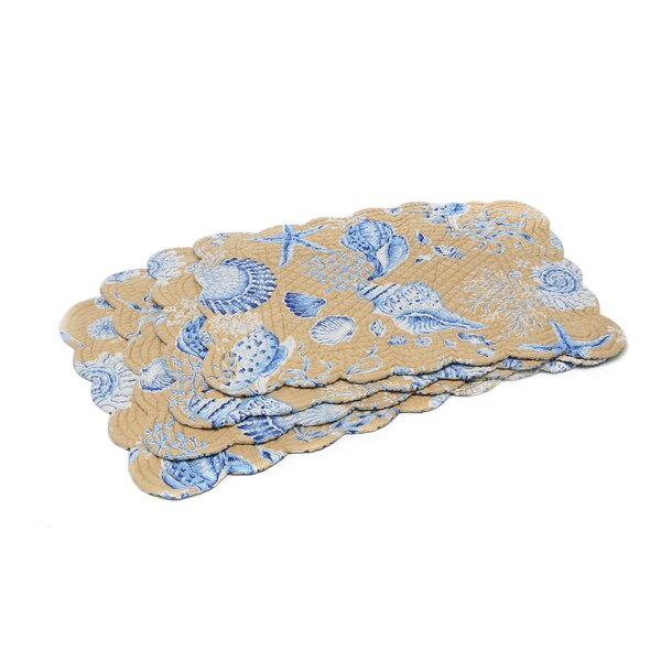 Seashells Reversible Quilted Scallop 19 Placemat (Set of 6) by C&F Home