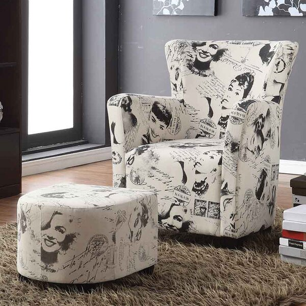 Brunwood Marilyn Monroe Print Club Chair with Ottoman by House of Hampton