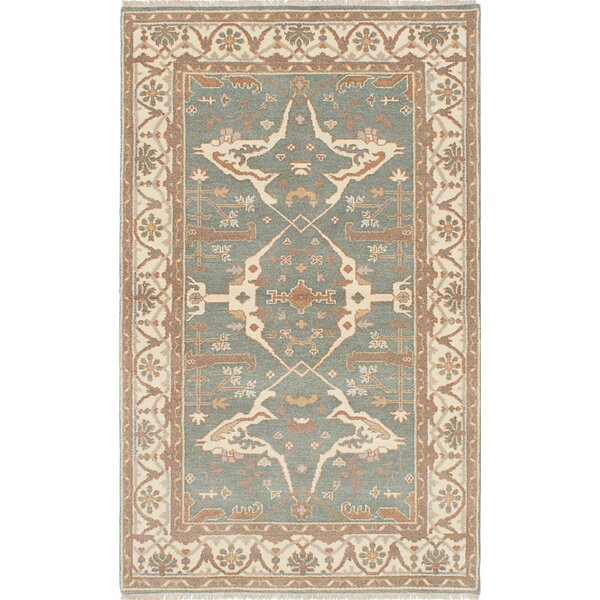 One-of-a-Kind Doggett Hand Knotted Rectangle Wool Light Turquoise Area Rug by Isabelline