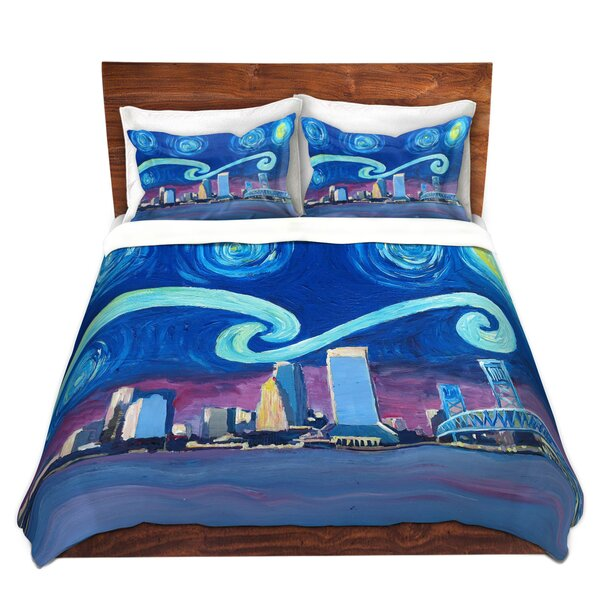 Starry Night Jacksonville Skyline Duvet Cover Set