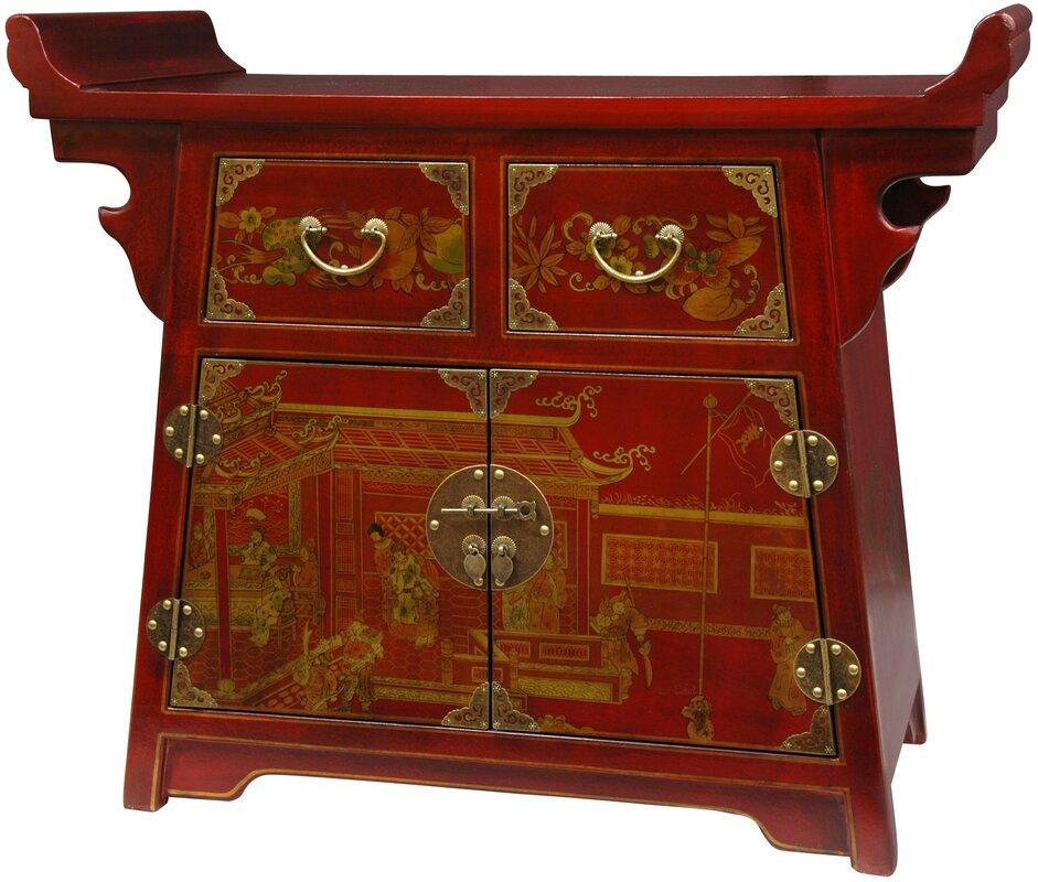 Delightful Lacquer Village Life Altar Accent Cabinet