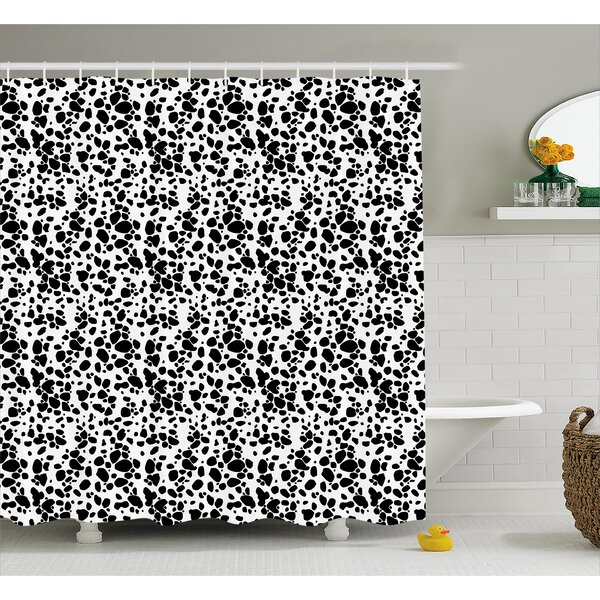 Kaster Dalmatian Dog Print Black and White Puppy Spots Fur Pattern Fun Spotted Pets Animal Decor Shower Curtain by Wrought Studio