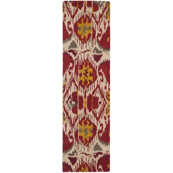 Ikat Ivory/Red Area Rug by Safavieh