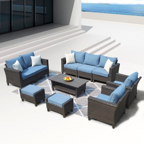 Cassville 10 Piece Sofa Seating Group with Cushions by Longshore Tides