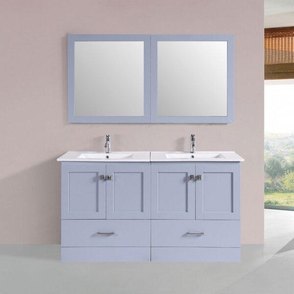 Landrum Modern 60 Double Bathroom Vanity Set with Mirror by Latitude Run