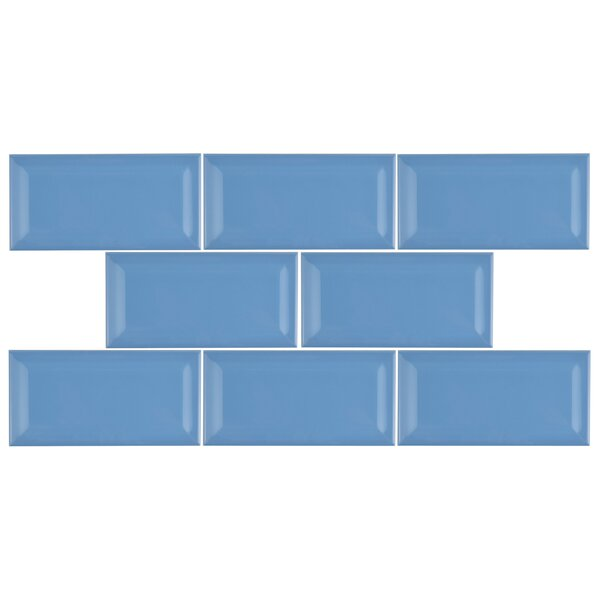 Prospect 3 x 6 Beveled Ceramic Subway Tile in Calm Blue by EliteTile