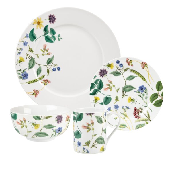 Home Flower Journal 16 Piece Dinnerware Set, Service for 4 by Spode