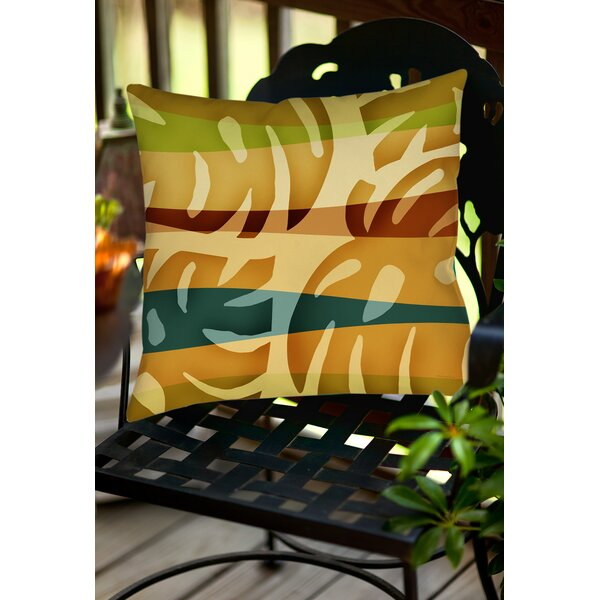 Tropical Leaf 1 Indoor/Outdoor Throw Pillow by Manual Woodworkers & Weavers