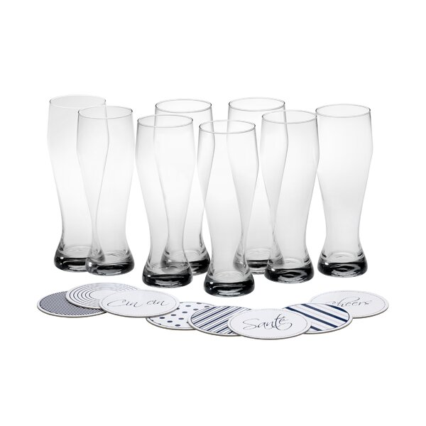 Cheers 22 oz. Crystal Highball Glass with Coasters (Set of 8) by Mikasa