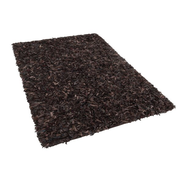Calanthe Shaggy Hand-Woven Brown Area Rug by 17 Stories