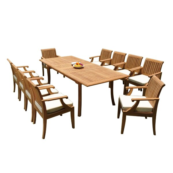 Dimitri 11 Piece Teak Dining Set by Rosecliff Heights
