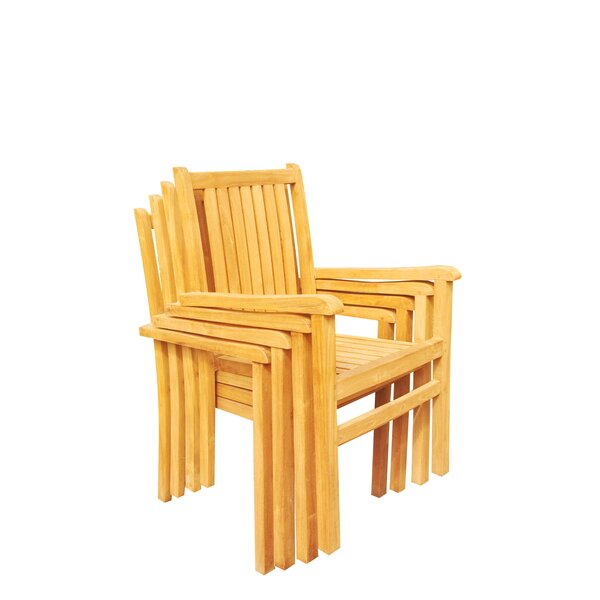 Doubleday Stacking Teak Patio Dining Chair (Set of 4) by Rosecliff Heights
