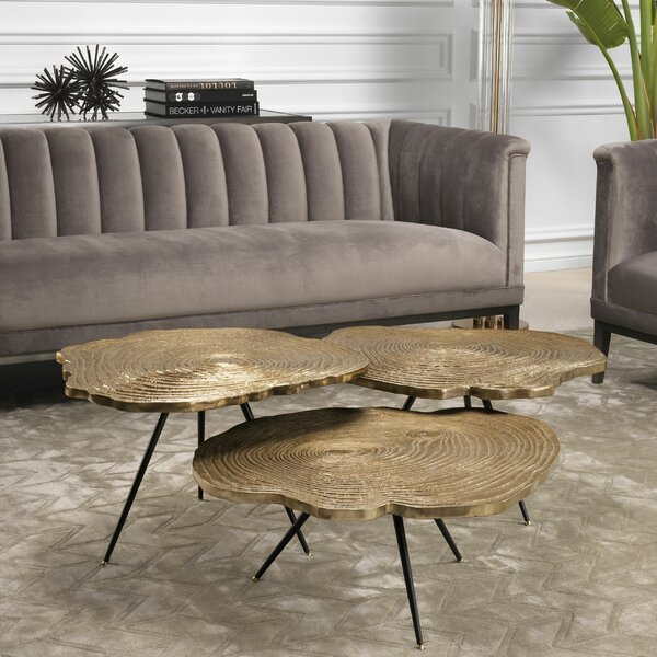 Wood Slice 3 Piece Coffee Table Set
