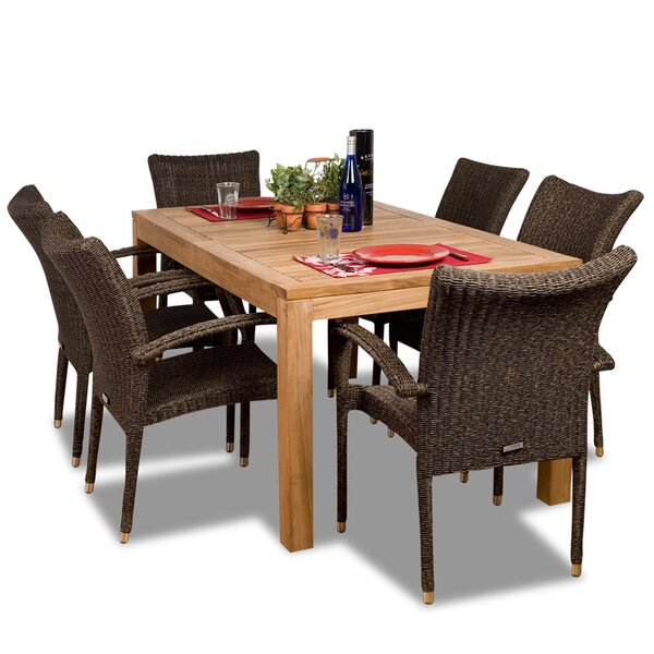 Escondido International Home Outdoor 7 Piece Teak Dining Set by Bayou Breeze