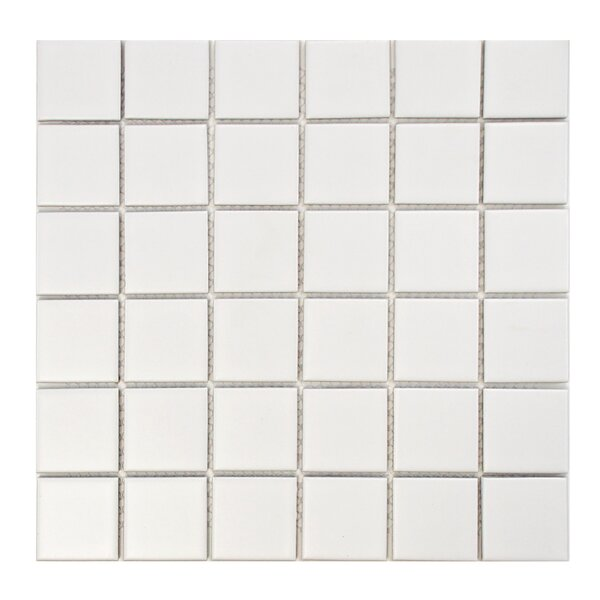 Retro Quad 2 x 2 Porcelain Mosaic Tile in Matte White by EliteTile