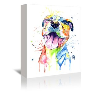 'Pit Bull ' by Lisa Whitehouse Graphic Art on Wrapped Canvas by East Urban Home