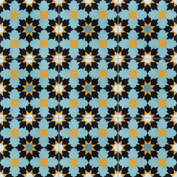 Casablanca 8 x 8 Cement Field Tile in Blue/Yellow/Black by Villa Lagoon Tile