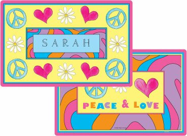 The Kids Tabletop Peace Love Eat Placemat by Kelly Hughes Designs