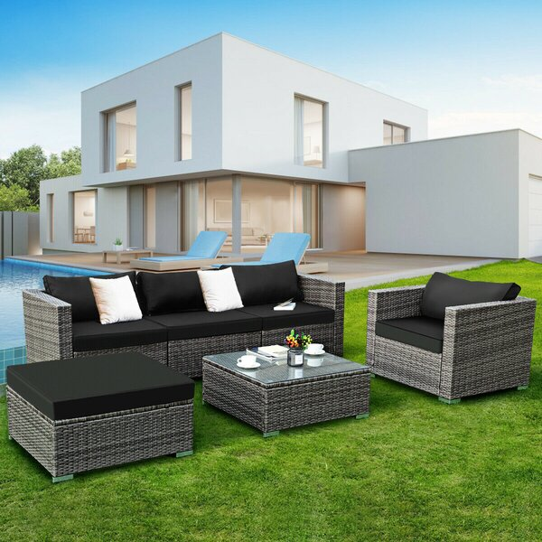 Breeze Patio 6 Piece Rattan Sofa Seating Group with Cushions by Latitude Run