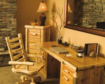 Traditional Cedar Log 3-Piece Standard Desk Office Suite by Fireside Lodge