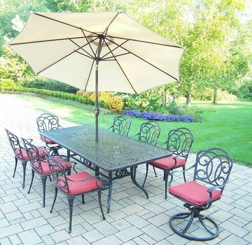 Robicheaux 9 Piece Dining Set with Cushions