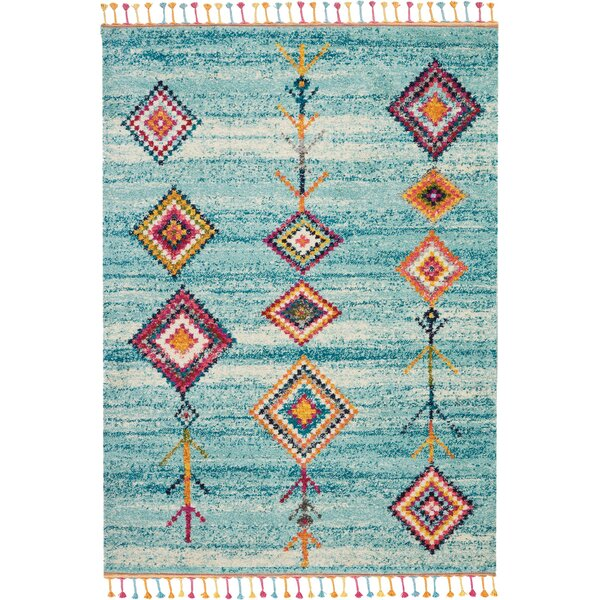 Wayne Moroccan Tribal Blue/Beige Area Rug by Bungalow Rose