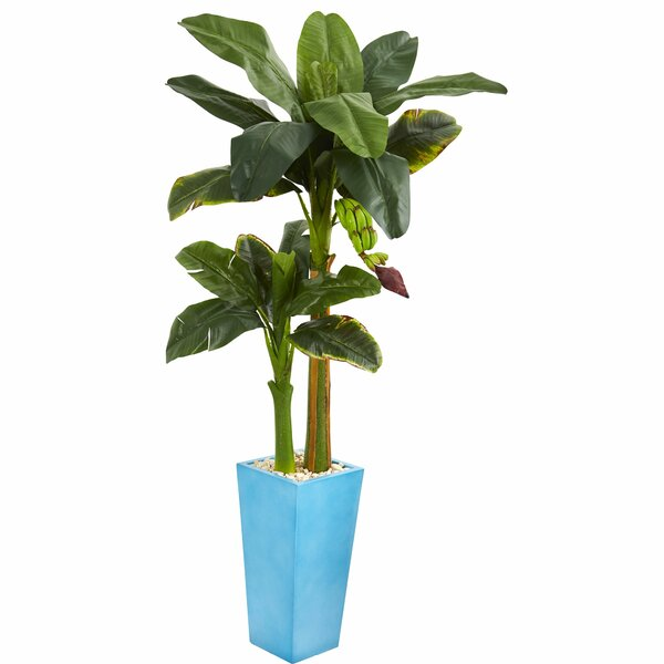 Artificial Banana Leaf Tree in Decorative Vase by Latitude Run